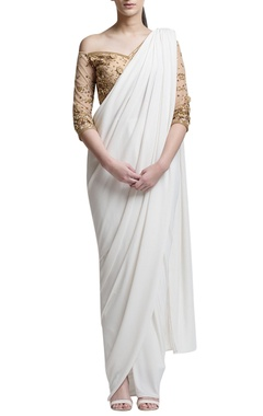Ivory sari with gold off-shoulder blouse