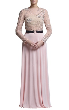 Blush pink embroidered gown