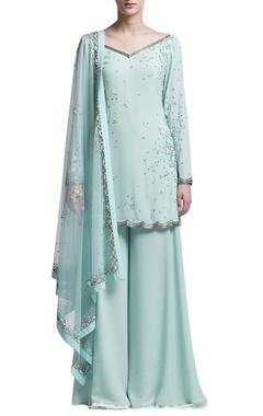 Mint blue embellished sharara set
