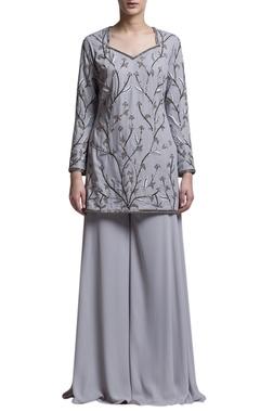 Grey embroidered kurta & sharara pants