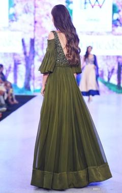 olive green cold-shoulder gown