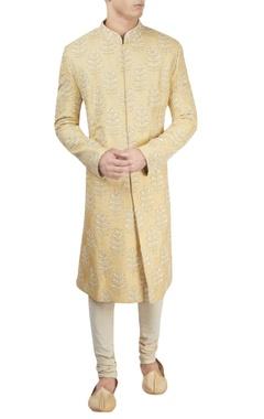 Light yellow lucknowi sherwani