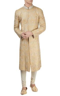 Light yellow collared sherwani