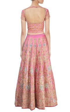 Rose pink embroidered lehenga set