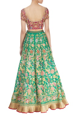 Sea green embroidered lehenga set
