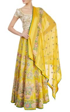Yellow & white embroidered lehenga set