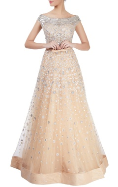 Beige embellished gown