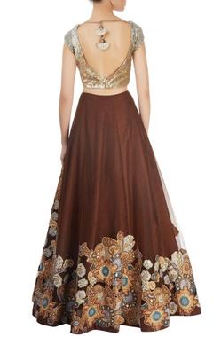 Brown embellished lehenga set