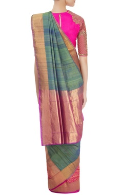 Blue sari with hot pink embroidered blouse