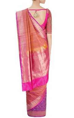Peach sari with embroidered blouse
