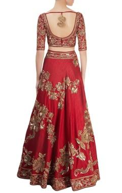 maroon embellished lehenga set