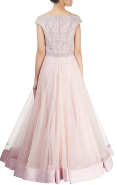 Baby pink off-shoulder gown