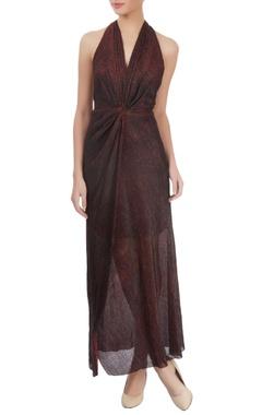 Maroon halter neck maxi dress
