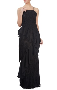 Black fringed & embroidered gown