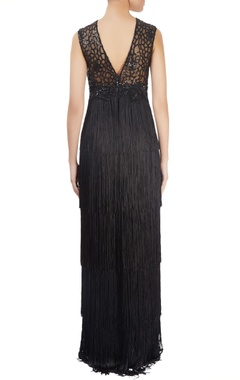 Black fringed & embellished gown