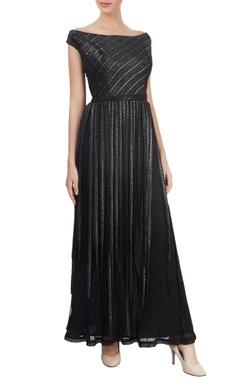 Black off-shoulder maxi dress