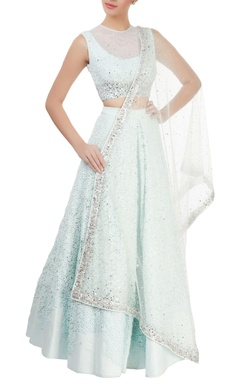 Ice-blue crochet lehenga set
