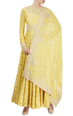 Yellow embroidered kurta set