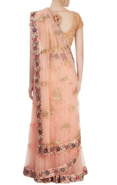 Beige embroidered sari