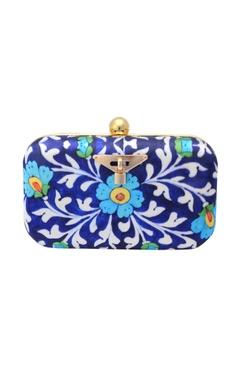 blue floral print clutch