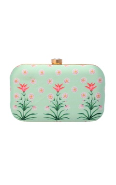 Mint green floral printed clutch
