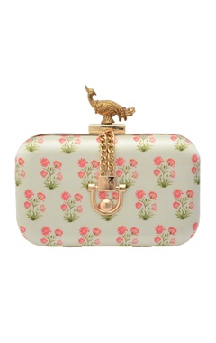 White floral printed box clutch
