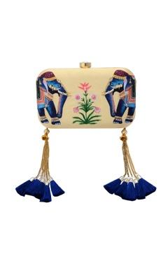 cream box clutch with elephant motif