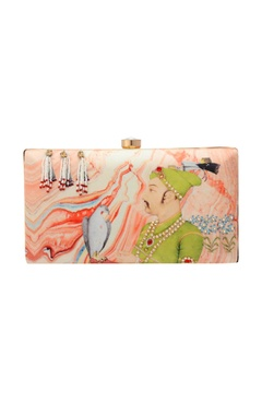 pink abstract print clutch