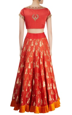 Red zari motif lehenga set