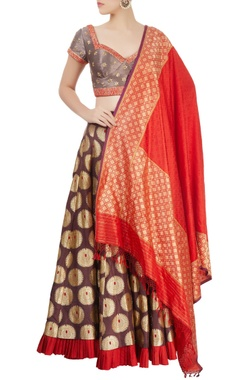 Grey & brown flared lehenga set