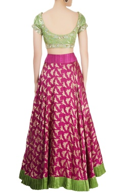 Green & wine lehenga set