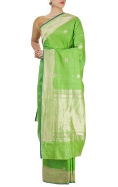 parrot green sari with blouse piece
