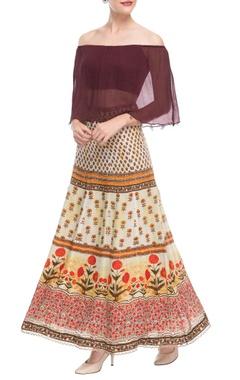 Burgundy off-shoulder top & printed skirt