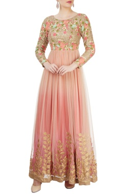 Pink anarkali with multi colored embroidery