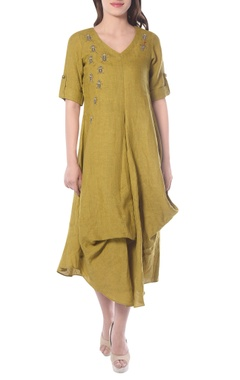yellowish green embroidered tunic