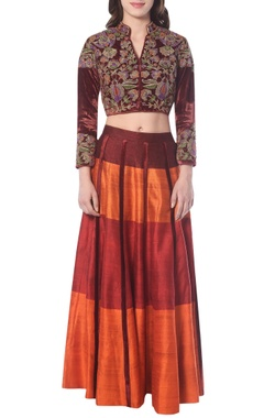 Maroon & orange lehenga set