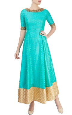 Blue anarkali with embroidery