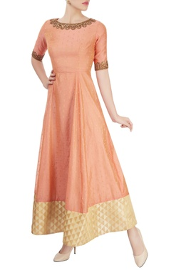 Peach anarkali with embroidery