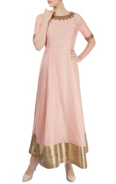Pink anarkali with embroidery