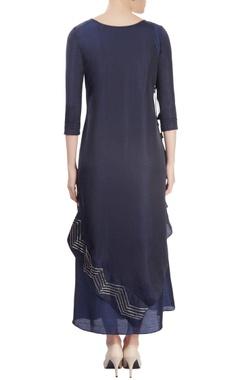 Navy blue kurta with overlap effect & embellishments