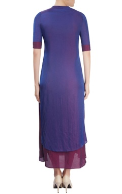 Royal blue & wine layered kurta with sequin embellishment