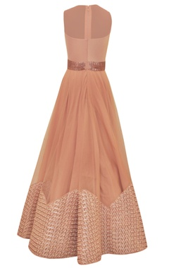 pink & gold sequin embellished gown