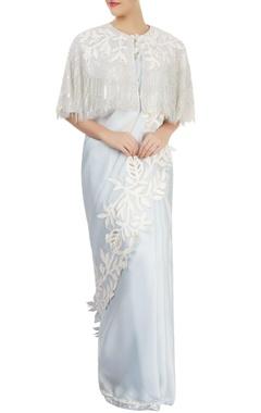 Off-white cape blouse