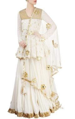 Gold & off white embroidered kurta lehenga
