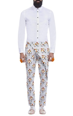 White printed trousers with a flap