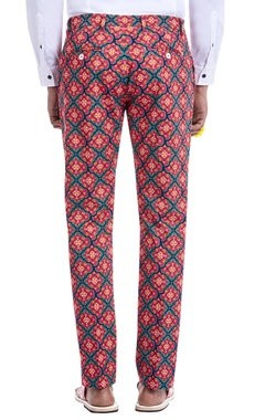 hot pink printed trousers
