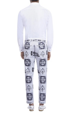 white & black printed trousers