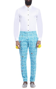 Sky blue wave print trousers