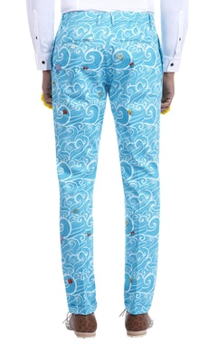 sky blue wave print trousers