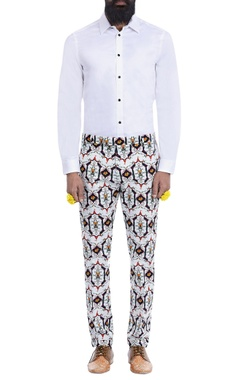white motif print trousers